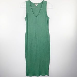 Belle & Sky Green Ribbed V-Neck Tank Dress M